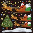 シール クリスマスサンタとソリ 装飾 デコレーション チョークアート 窓 黒板 看板 ステッカー(最低購入数量3枚〜)