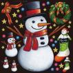 シール クリスマス雪だるまとリース 装飾 デコレーション チョークアート 窓 黒板 看板 ステッカー(最低購入数量3枚〜)
