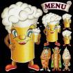シール キャラクター ビール フランクフルト ソフトクリーム MENU 装飾 デコレーション チョークアート 窓 黒板 看板 ステッカー【最低購入数量3枚〜】