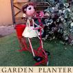 ブリキの人形 ガーデン用 オブジェ 人形  ブリキ製 ポット付き 自転車 高さ52cm 女の子