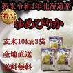 お米北海道産 玄米ゆめぴりか30kg 一等米 令和元年産 送料無料