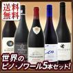 ワインセット その他ワインセット 送料無料 100% ピノ・ノワール 世界のピノ・ノワール5本セット wine