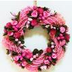 造花 天然素材リース 30cm  ピンク