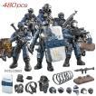 警察 スワット ミニフィギュア 軍事都市武器特殊部隊軍 swat 兵士 レゴ互換 ブロック セット 480ピース