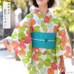 浴衣 綿絽 水玉 古典 黄緑 白 赤 レディース レトロ モダン 日本製 仕立上がり 単品 夏着物 30代 40代 50代