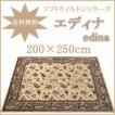 日本の織り絨毯 ソフトウィルトンシリーズ お洒落な花柄のラグ・カーペット【エディナ edina】  200×250cm(約3畳)長方形