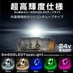 LEDテープライト 24V 5M 幅16mm 600LED 激光 シリコンチューブ 防水 両側配線 5色 ホワイト 暖色 ブルー グリーン ピンク あす つく _@a863