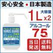 【日本製】ハンドジェル ポンプ 1L 2set 大容量 ハンズガード アルコール75% 除菌 殺菌 消毒 即納 業務用 2本 [日健] 離島以外送料無料