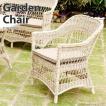 パーソナルチェアー ガーデンチェア サンデッキチェア 椅子 肘掛け いす ラタン調 白 ホワイト 北欧 C1801PWW
