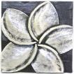 アジアン雑貨 バリ レリーフ 壁掛け 壁飾り アートパネル 木製 プルメリア アンティークシルバー z090302a
