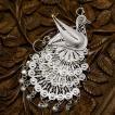 フィリグリー 孔雀 ブローチペンダント 美しい手仕事の繊細な銀線細工 ジョグジャカルタ メール便不可