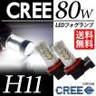 H11 LEDフォグランプ/LEDフォグライト CREE 80W 最新チップ搭載モデル ホワイト/白