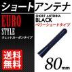 カーボン アンテナ ユーロタイプ ベリーショート 80mm ブラック / 黒
