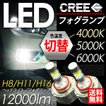 LEDフォグランプ H8/H11/H16 CREEチップ 4000K/5000K/6000K 3色切替可能 最新型フォグライト