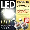 LEDフォグランプ H11 CREE採用 合計12000LMの圧倒的な輝き 最新フォグライト 6000K