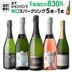 ワインセット 白 スパークリング 泡 5本+1本 (合計6本) 飲み比べ 詰め合わせ 送料無料 全て シャンパン製法 極上 辛口 13弾 長S