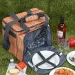 クーラーバッグ 食器付きピクニックバスケット バカンスクーラー PANIER 保冷 ファスナー付 ( 食器セット カトラリーセット 保冷バッグ )