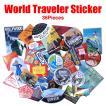 メール便 送料無料 36枚入り ワールドトラベラー ステッカー セット 防水 シール スーツケース 旅行バッグ 鞄 MacBook ノートPC