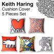 キースヘリング クッション カバー 45×45cm 5種セット Keith Haring インテリア 雑貨 ソファ ベッド