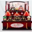 雛人形 あかり引出収納三段飾り 赤黒 吉徳大光224 (間口60cm)