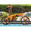 送料税含みハチコ HACHIKO ジュラルミン 折り畳み自転車 SHIMANO7段 変速 20インチ (オレンジ) [98%完成品]泥よけ付きプレゼントがあり!HA-01-Orange