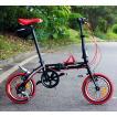 送料無料税込みハチコHACHIKOジュラルミン折り畳み自転車SHIMANOシマノ6段変速14インチ (黒い)[98%完成品]泥よけ付きプレゼントがあり!HA-03-Black