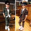 ベビー キッズ 子供服 男の子 フォーマル セレモニー セットアップ スーツ タータンチェックスーツジャケット&パンツセット