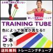 トレーニングチューブ フィットネスチューブ 筋トレゴムバンド エクササイズ 強度別 5本セット インナーマッスル フィットネス ダイエット 体幹  ラバー