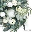【11月15日より順次発送予定】クリスマスリース フラワー スノー グリーンリーフ ホワイトフラワー 45cm White Flower Snow Wreath L 優良配送