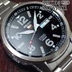 セイコー5 スポーツ ミリタリー 海外モデル 逆輸入 自動巻き SEIKO5 腕時計 メンズ ブラック文字盤 ステンレスベルト SRP619K1 サイズ調整無料