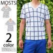 メンズ半袖Tシャツ/ウィンドウペンチェック柄/ティーシャツVネック/半袖/カットソー