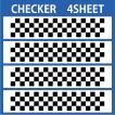 切り文字ステッカー   色変更OK CHECKER  4SHEET  カッティングシート・シール・デカール チェッカー・格子柄・市松模様