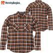HenlyBegins プロテクター対応 ネルシャツ ブラウン NHB-1504