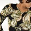 モード長袖Tシャツ ヒョウ豹  レオパード柄 バロックチェーン スカーフ柄 Vネック ロンT メンズ(ブラック黒2×オフホワイト白) bvgt12