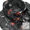 ドレスシャツ ドゥエボットーニ 蝶 鳥 ボタニカル 綿サテン スナップダウン パーティー シャツ メンズ(ブラック黒) 161231