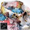 サテンシャツ 幾何学模様柄 宝石 ドゥエボットーニ 日本製 ジャガード スナップダウン 光沢 メンズ パーティー ドレスシャツ(ホワイト白レッド赤) 171316