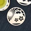 富士山麓ひのき製 オーナメントコースター 富士山と桜/ 檜製 木製 透かし彫り おしゃれ 茶托