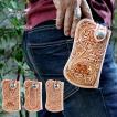 iphone7 ケース カービングレザーナチュラル・ポーチ/iphone6s/iphone5s 対応