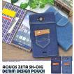 AQUOS ZETA SH-01G/Disney Mobile SH-02G 手帳型スマホケース デニム風ポケット付 アクオスゼータ