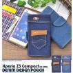 Xperia Z3 Compact SO-02G ケース 手帳型 ポケット付デニム風 docomo  エクスペリア スマホケース