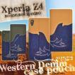 Xperia Z4 ケース 手帳型 スマホケース ウエスタンデニム エクスペリアZ4(SO-03G/SOV31/402SO) 横開き