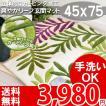 玄関マット 風水 リーフ 室内 洗える 葉っぱ柄 ボタニカル調 北欧テイスト ウォッシャブル 観葉植物 リーフ柄 45×75 サンデイ