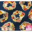 MOOMIN フラワーリース 綿麻キャンバス ムーミンたちがお花のリースでくつろぐ柄 キャラクター生地 布 G-1009-1 数量3(30cm)から10cm単位