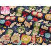 らくがきシリーズ ジャパニーズ犬  日本を代表するワンコの総柄 MIYAKO-027 しっとりとしたやわらかさで程よい厚さの綿麻プリント 110cm巾