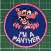 お子様の入学バッグに! 人気のピンクパンサーのアイロンワッペン「I'M A PANTHER」 定型郵便送料無料