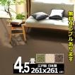カーペット 4.5畳 リビング 防ダニ 防炎カーペット 江戸間 四畳半 絨毯 おしゃれ 安い 正方形 ホームシェル