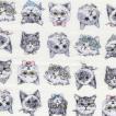ふんわりマシュマロ触感!/ダブルガーゼプリント/猫プリ6 ホワイト系 5色 1m単位 アウトレット ポイント