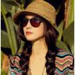 あすつく!【送料無料】麦わら 帽子 天然素材 ハット キャップ  つば広帽  ベーシックエンチ ストローペーパー カプリーヌ  レース編み  レディース