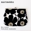 メール便 可 ポーチ マリメッコ がま口 横長大 Mini Unikko ミニ ウニッコ PUOLIKAS KUKKARO ホワイト×ブラック