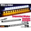 汎用 流れる LED シーケンシャル ウィンカー デイライト ホワイト アンバー 2個 30系 20系 プリウス アルファード ヴェルファイア N-VAN エブリイ 他 セール